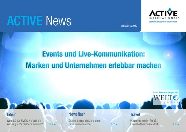 ACTIVE News  Ausgabe 2/2012  Unser Kooperationspartner  Intern  Newsflash  Travel  Web 2.0 für FMCG-Hersteller: Wie sag ic...