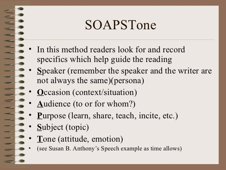 Soapstone Reading Strategy : Active reading note taking
