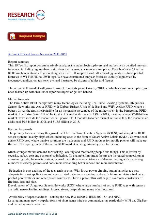Active RFID and Sensor Networks to 2021