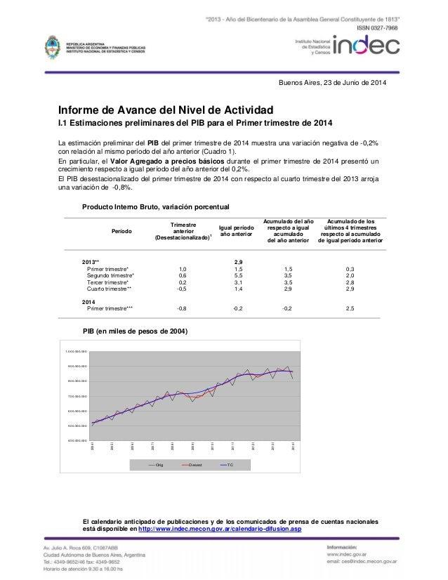 Buenos Aires, 23 de Junio de 2014 Informe de Avance del Nivel de Actividad I.1 Estimaciones preliminares del PIB para el P...