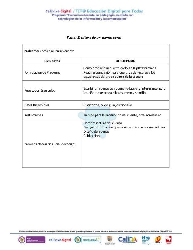 Tema: Escritura de un cuento corto Problema: Cómo escribir un cuento Elementos DESCRIPCION Formulación de Problema Cómo pr...