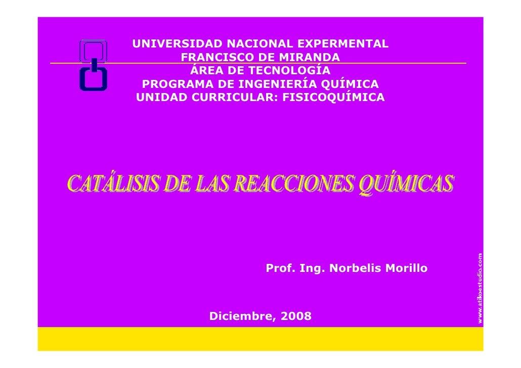 UNIVERSIDAD NACIONAL EXPERMENTAL       FRANCISCO DE MIRANDA        ÁREA DE TECNOLOGÍA  PROGRAMA DE INGENIERÍA QUÍMICA UNID...
