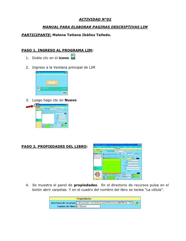 ACTIVIDAD N°02           MANUAL PARA ELABORAR PAGINAS DESCRIPTIVAS LIMPARTICIPANTE: Malena Tatiana Ibáñez Talledo.PASO 1. ...