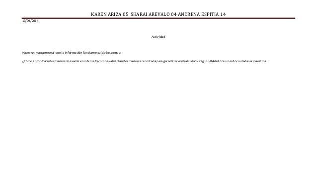 KAREN ARIZA 05 SHARAI AREVALO 04 ANDRENA ESPITIA 14  19/09/2014  Actividad  Hacer un mapa mental con la información fundam...