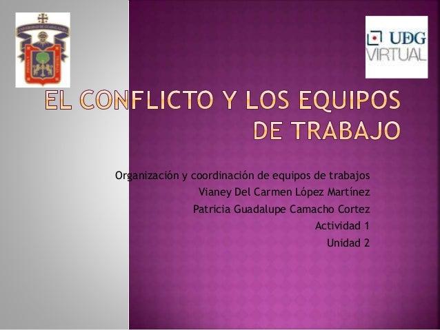 Organización y coordinación de equipos de trabajos Vianey Del Carmen López Martínez Patricia Guadalupe Camacho Cortez Acti...