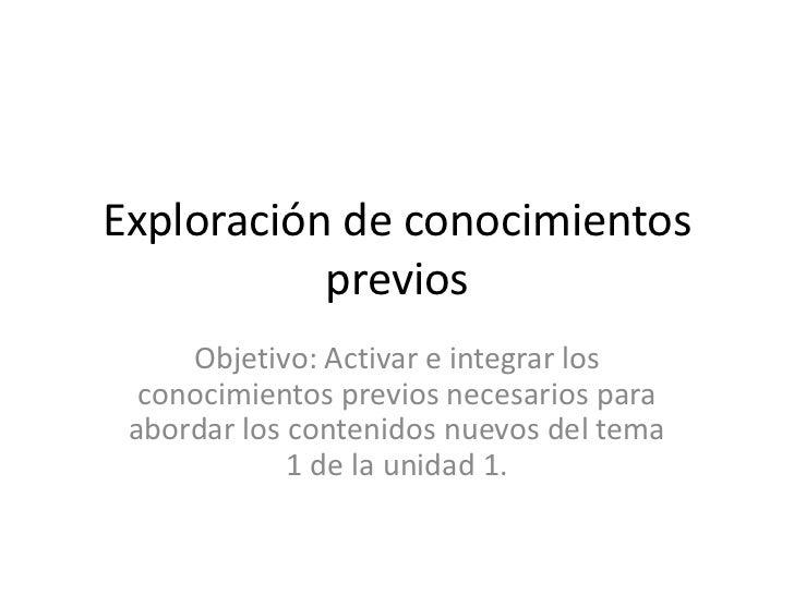 Exploración de conocimientos           previos     Objetivo: Activar e integrar los  conocimientos previos necesarios para...
