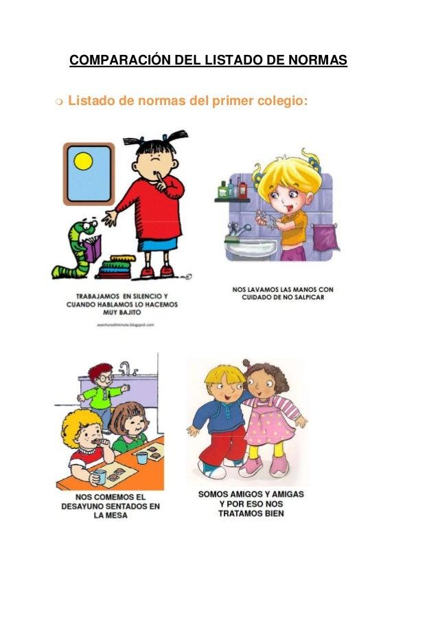 COMPARACIÓN DEL LISTADO DE NORMAS   Listado de normas del primer colegio: