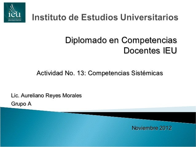 Diplomado en Competencias                                  Docentes IEU          Actividad No. 13: Competencias Sistémicas...
