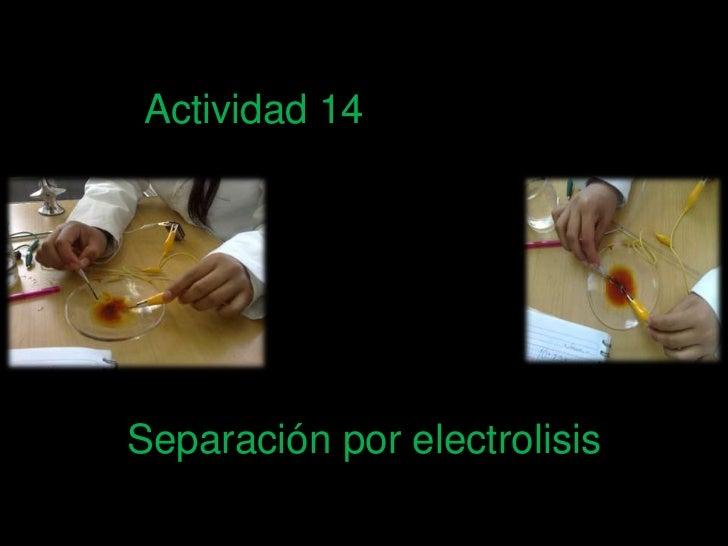 Actividad 14<br />Separación por electrolisis <br />