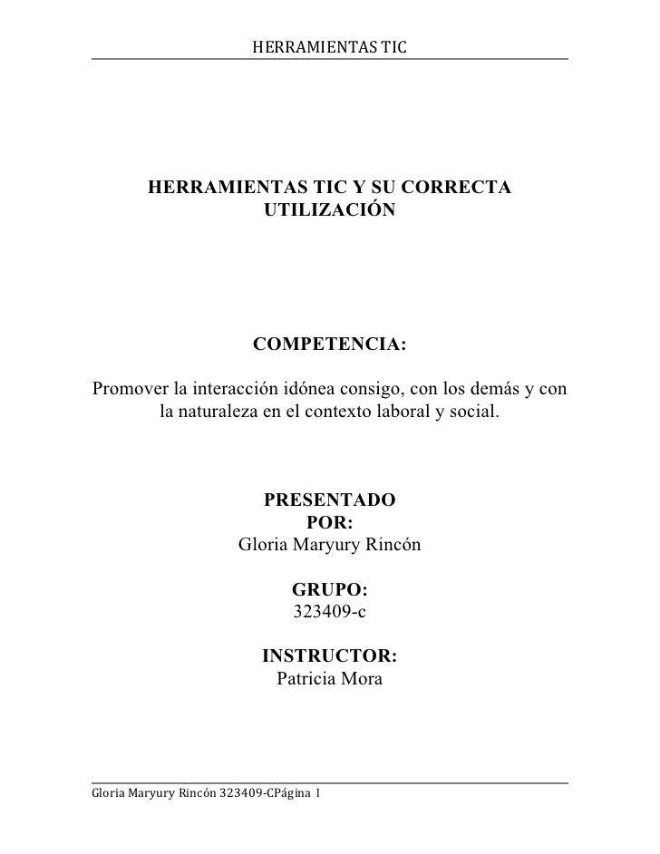 HERRAMIENTAS TIC         HERRAMIENTAS TIC Y SU CORRECTA                  UTILIZACIÓN                          COMPETENCIA:...