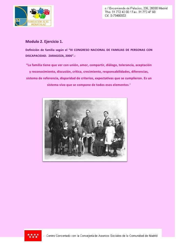 """Modulo 2. Ejercicio 1.Definición de familia según el """"III CONGRESO NACIONAL DE FAMILIAS DE PERSONAS CONDISCAPACIDAD. ZARAG..."""