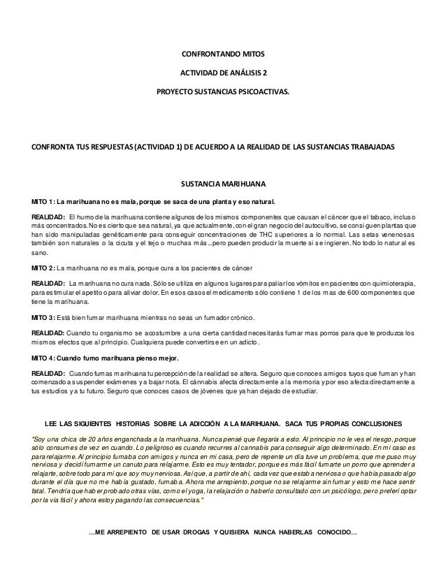 CONFRONTANDO MITOS  ACTIVIDAD DE ANÁLISIS 2  PROYECTO SUSTANCIAS PSICOACTIVAS.  CONFRONTA TUS RESPUESTAS (ACTIVIDAD 1) DE ...
