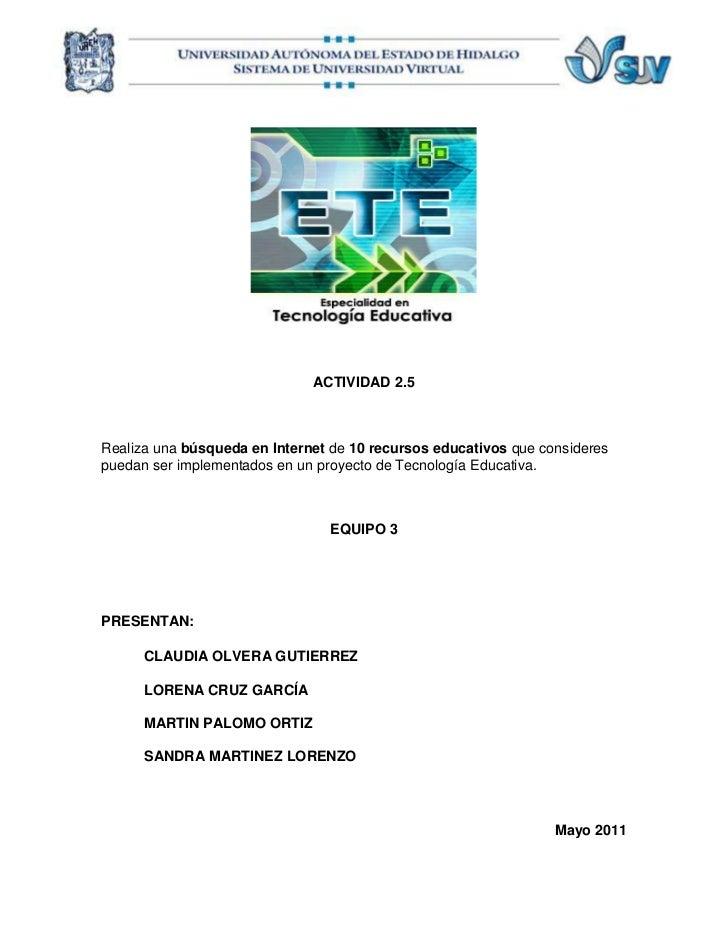 Actividad 2.5 - Equipo 3 - 10 recursos educativos