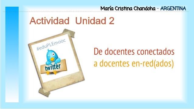 María Cristina Chandoha - ARGENTINA  De docentes conectados a docentes en-red(ados)
