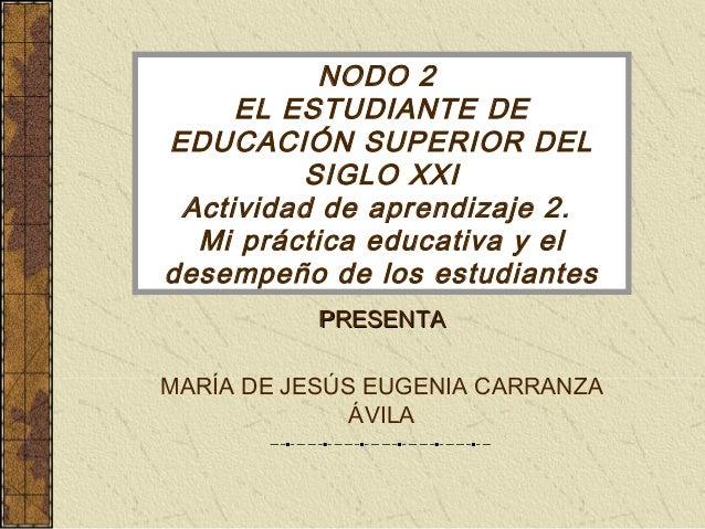 NODO 2  EL ESTUDIANTE DE  EDUCACIÓN SUPERIOR DEL  SIGLO XXI  Actividad de aprendizaje 2.  Mi práctica educativa y el  dese...