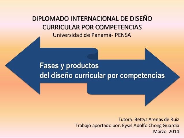 DIPLOMADO INTERNACIONAL DE DISEÑO CURRICULAR POR COMPETENCIAS Universidad de Panamá- PENSA  Fases y productos del diseño c...