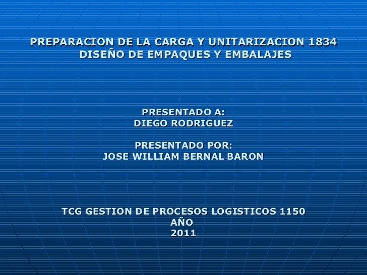PREPARACION DE LA CARGA Y UNITARIZACION 1834 DISEÑO DE EMPAQUES Y EMBALAJES PRESENTADO A: DIEGO RODRIGUEZ PRESENTADO POR: ...
