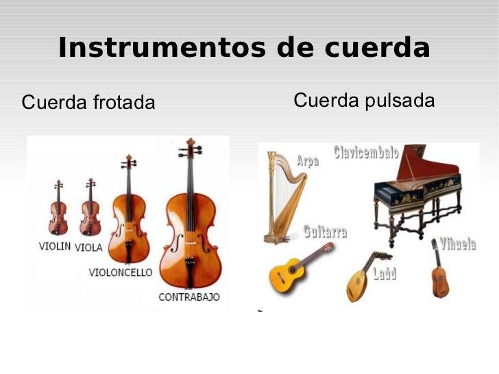 Instrumentos de cuerda Cuerda frotada Cuerda pulsada