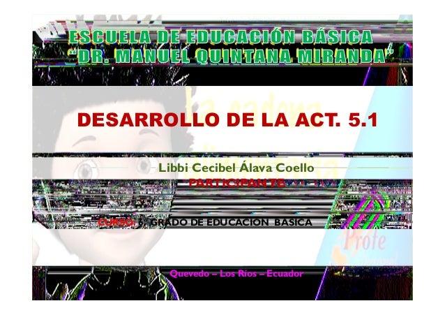 Quevedo – Los Ríos – Ecuador Libbi Cecibel Álava Coello PARTICIPANTE DESARROLLO DE LA ACT. 5.1 CURSO: 6º GRADO DE EDUCACIÓ...
