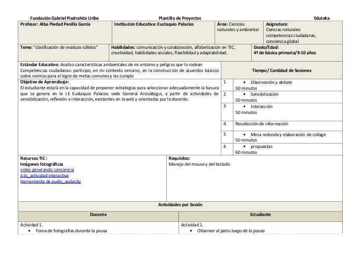 Fundación Gabriel Piedrahita Uribe                                Plantilla de Proyectos                                  ...