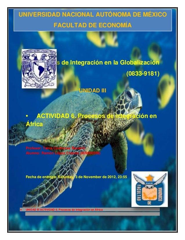 UNIVERSIDAD NACIONAL AUTÓNOMA DE MÉXICO                     FACULTAD DE ECONOMÍA      Procesos de Integración en la Global...
