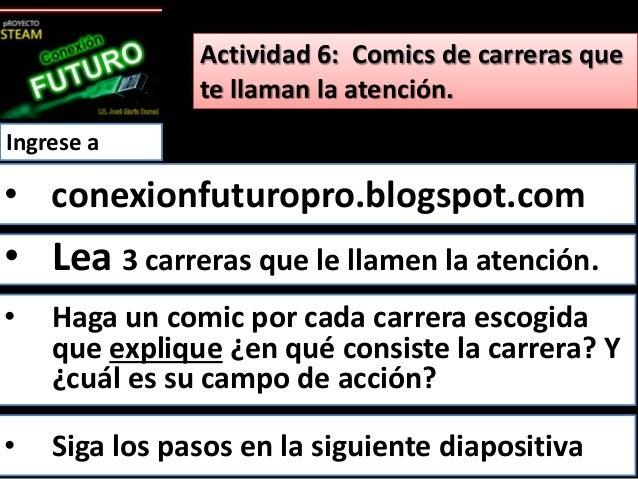 Actividad 6: Comics de carreras que  te llaman la atención.  Ingrese a  • conexionfuturopro.blogspot.com  • Lea 3 carreras...