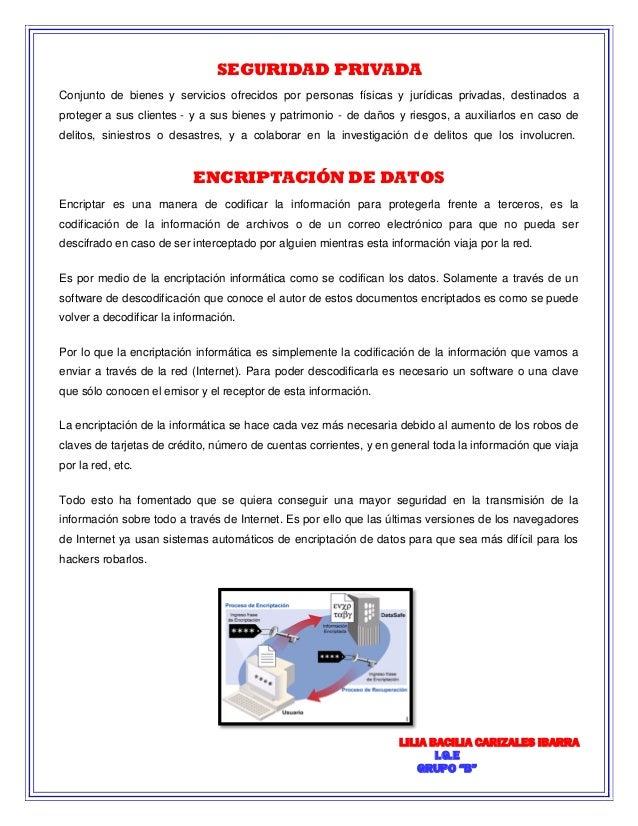 """LILIA BACILIA CARIZALES IBARRA  I.G.E  GRUPO """"B""""  SEGURIDAD PRIVADA  Conjunto de bienes y servicios ofrecidos por personas..."""