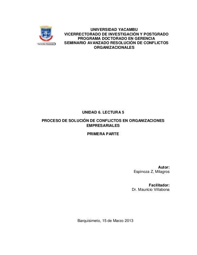 UNIVERSIDAD YACAMBU         VICERRECTORADO DE INVESTIGACIÓN Y POSTGRADO               PROGRAMA DOCTORADO EN GERENCIA      ...