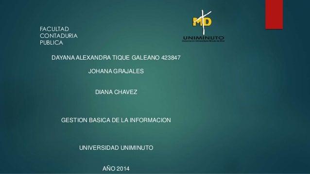 DAYANA ALEXANDRA TIQUE GALEANO 423847  JOHANA GRAJALES  DIANA CHAVEZ  GESTION BASICA DE LA INFORMACION  UNIVERSIDAD UNIMIN...