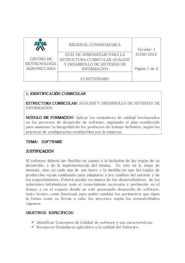 CENTRO DE BIOTECNOLOGIA AGROPECUARIA REGIONAL CUNDINAMARCA GUÍA DE APRENDIZAJE PARA LA ESTRUCTURA CURRICULAR ANÁLISIS Y DE...