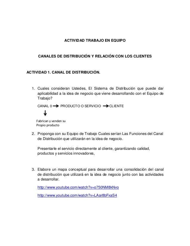 ACTIVIDAD TRABAJO EN EQUIPO  CANALES DE DISTRIBUCIÓN Y RELACIÓN CON LOS CLIENTES  ACTIVIDAD 1. CANAL DE DISTRIBUCIÓN.  1. ...