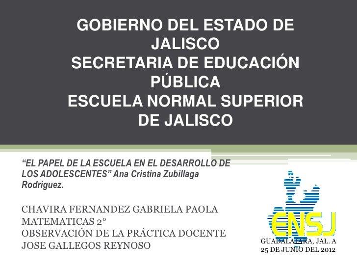 GOBIERNO DEL ESTADO DE                 JALISCO         SECRETARIA DE EDUCACIÓN                 PÚBLICA         ESCUELA NOR...