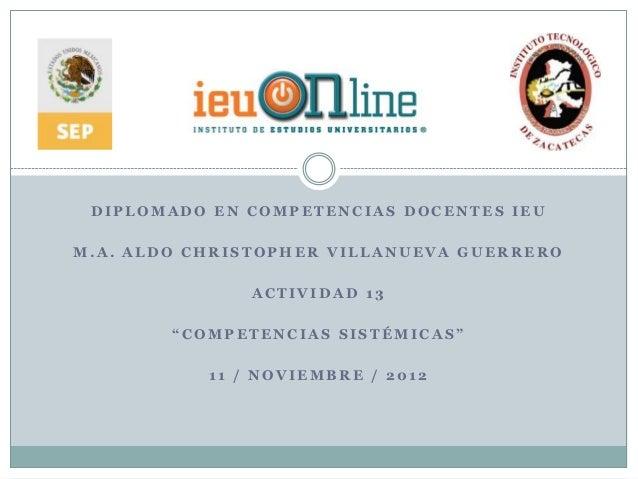 """DIPLOMADO EN COMPETENCIAS DOCENTES IEUM.A. ALDO CHRISTOPHER VILLANUEVA GUERRERO               ACTIVIDAD 13        """"COMPETE..."""