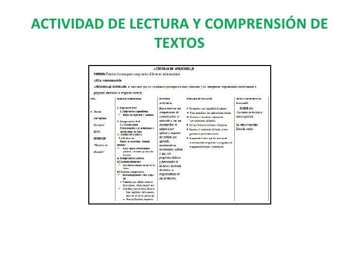 ACTIVIDAD DE LECTURA Y COMPRENSIÓN DE TEXTOS<br />