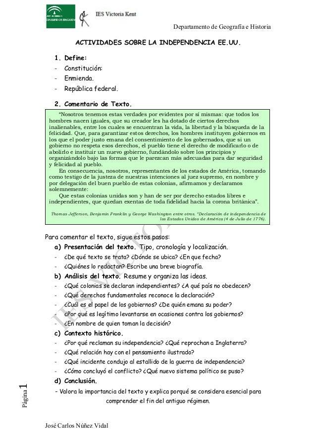 Departamento de Geografía e Historia José Carlos Núñez Vidal Página1   ACTIVIDADES SOBRE LA INDEPENDENCIA EE.UU. 1. Defi...
