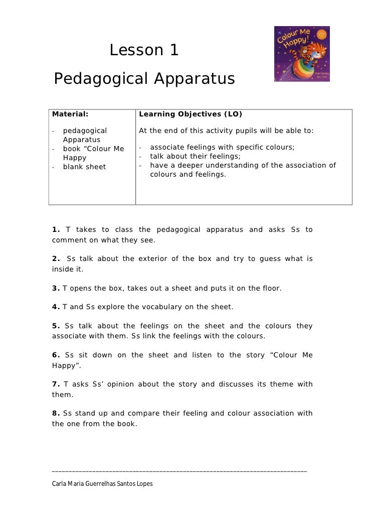 Lesson 1 Pedagogical Apparatus  Material:                     Learning Objectives (LO)  -   pedagogical               At t...