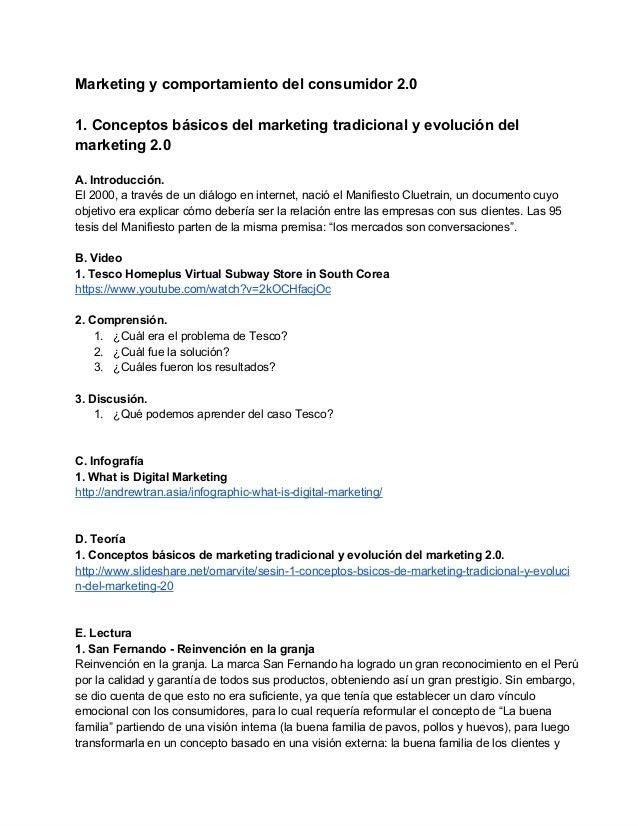 Conceptos básicos de marketing tradicional y evolución del marketing 2.0.