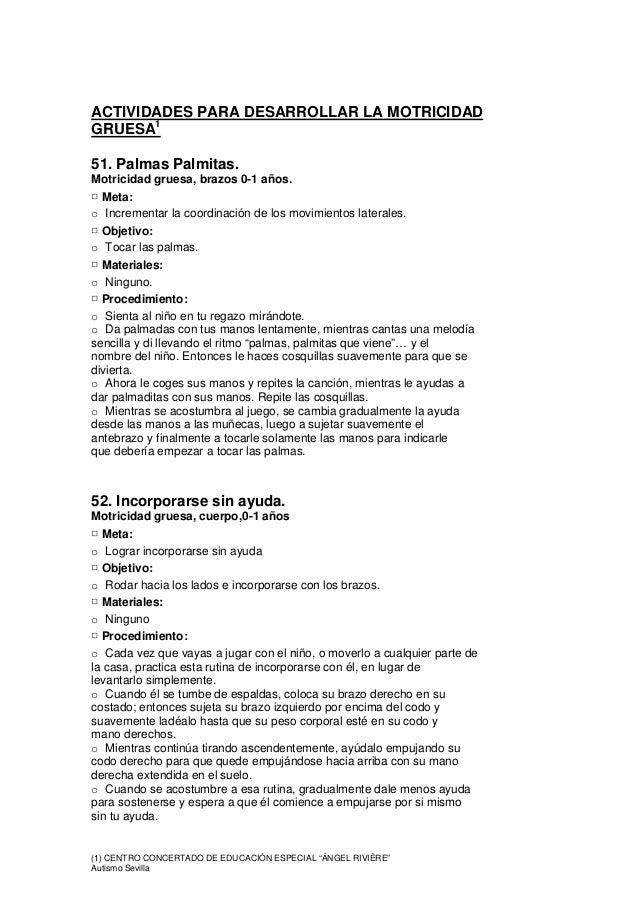 """(1) CENTRO CONCERTADO DE EDUCACIÓN ESPECIAL """"ÁNGEL RIVIÈRE"""" Autismo Sevilla ACTIVIDADES PARA DESARROLLAR LA MOTRICIDAD GRU..."""