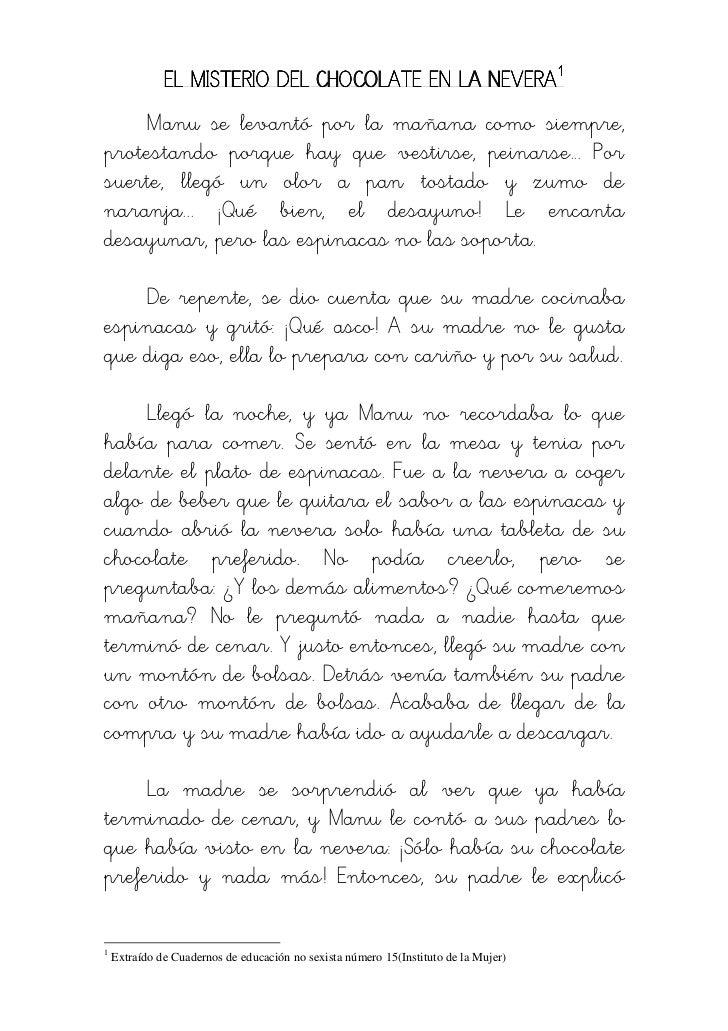 EL MISTERIO DEL CHOCOLATE EN LA NEVERA1    Manu se levantó por la mañana como siempre,protestando porque hay que vestirse,...