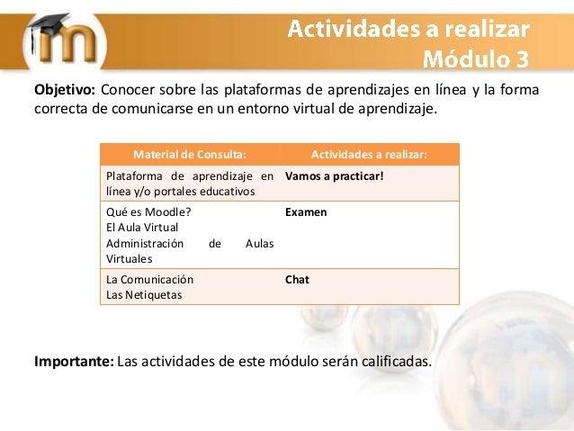 Objetivo: Conocer sobre las plataformas de aprendizajes en línea y la forma correcta de comunicarse en un entorno virtual ...
