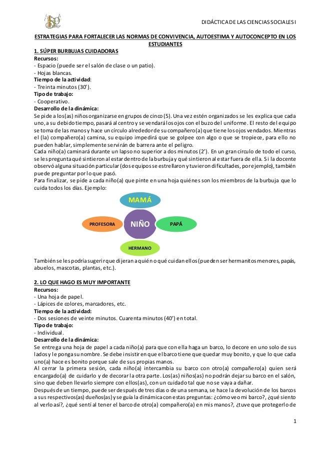 DIDÁCTICA DE LAS CIENCIAS SOCIALES I  ESTRATEGIAS PARA FORTALECER LAS NORMAS DE CONVIVENCIA, AUTOESTIMA Y AUTOCONCEPTO EN ...