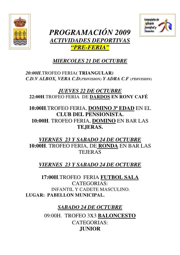 Actividades Culturales  Y Deportivas Feria 2009