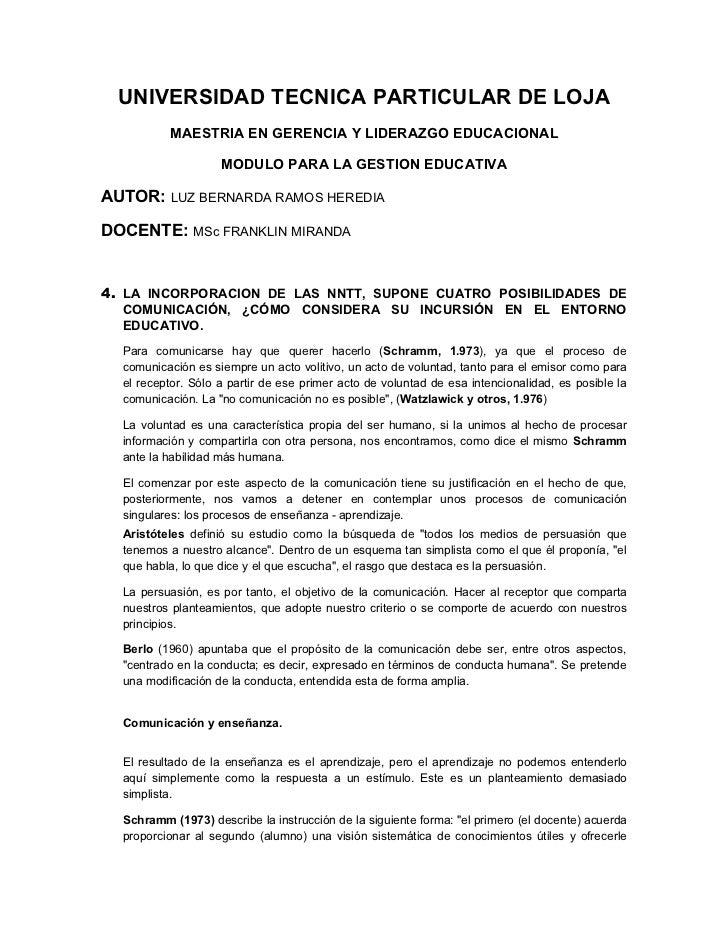 UNIVERSIDAD TECNICA PARTICULAR DE LOJA          MAESTRIA EN GERENCIA Y LIDERAZGO EDUCACIONAL                    MODULO PAR...