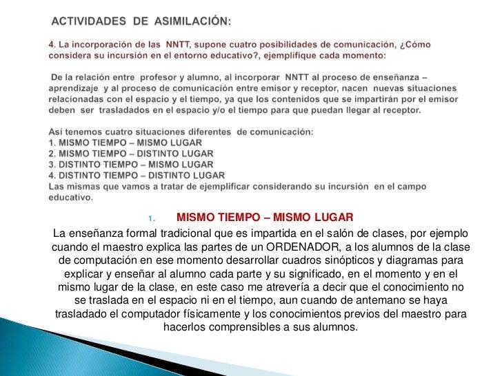ACTIVIDADES  DE  ASIMILACIÓN:4. La incorporación de las  NNTT, supone cuatro posibilidades de comunicación, ¿Cómo conside...