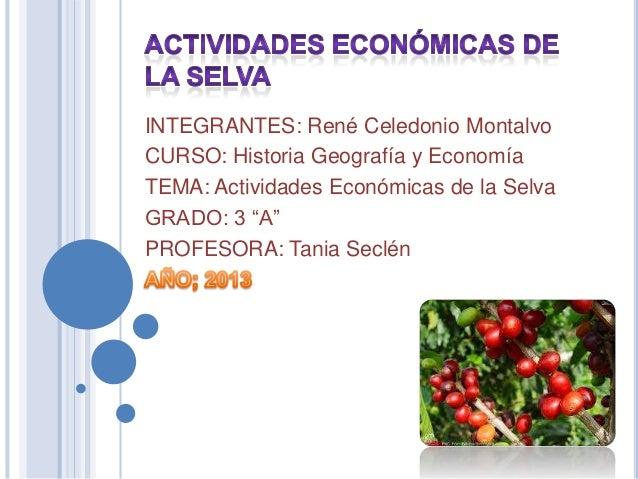 """INTEGRANTES: René Celedonio MontalvoCURSO: Historia Geografía y EconomíaTEMA: Actividades Económicas de la SelvaGRADO: 3 """"..."""