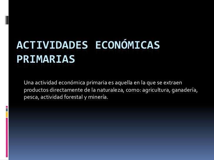 ACTIVIDADES ECONÓMICAS PRIMARIAS<br />Una actividad económica primaria es aquella en la que se extraen productos directame...