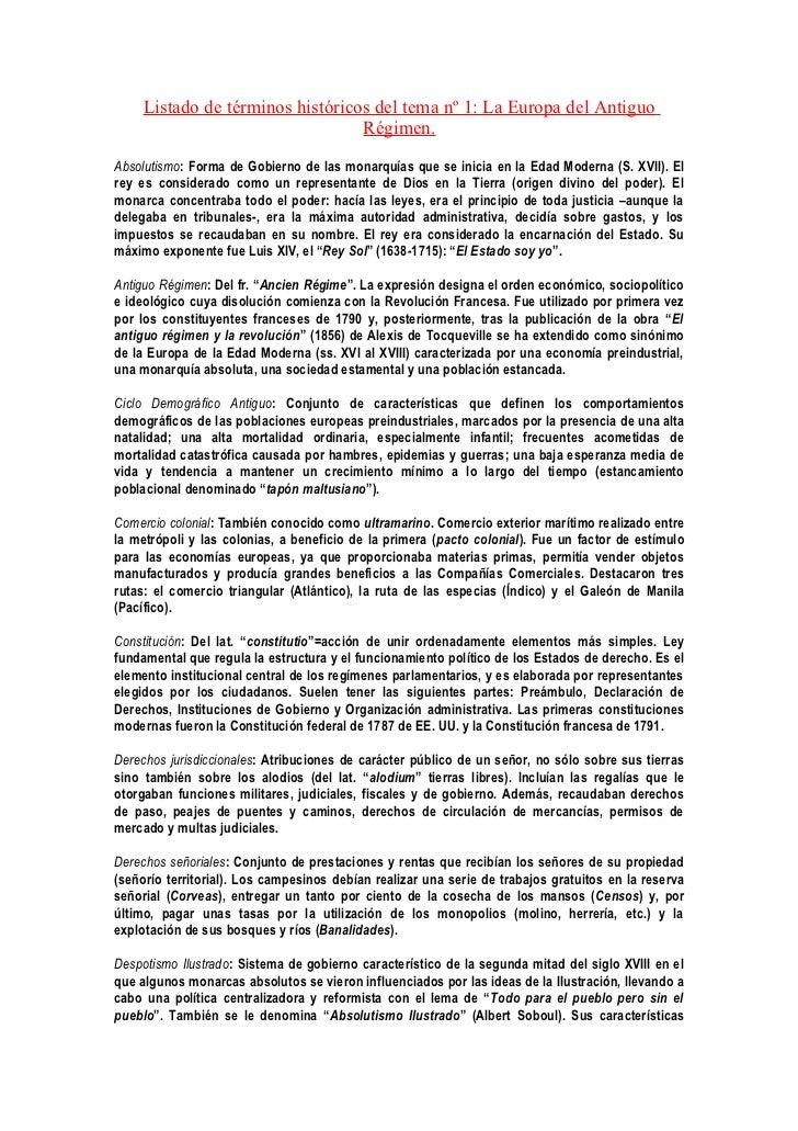 Listado de términos históricos del tema nº 1: La Europa del Antiguo                                  Régimen.Absolutismo: ...