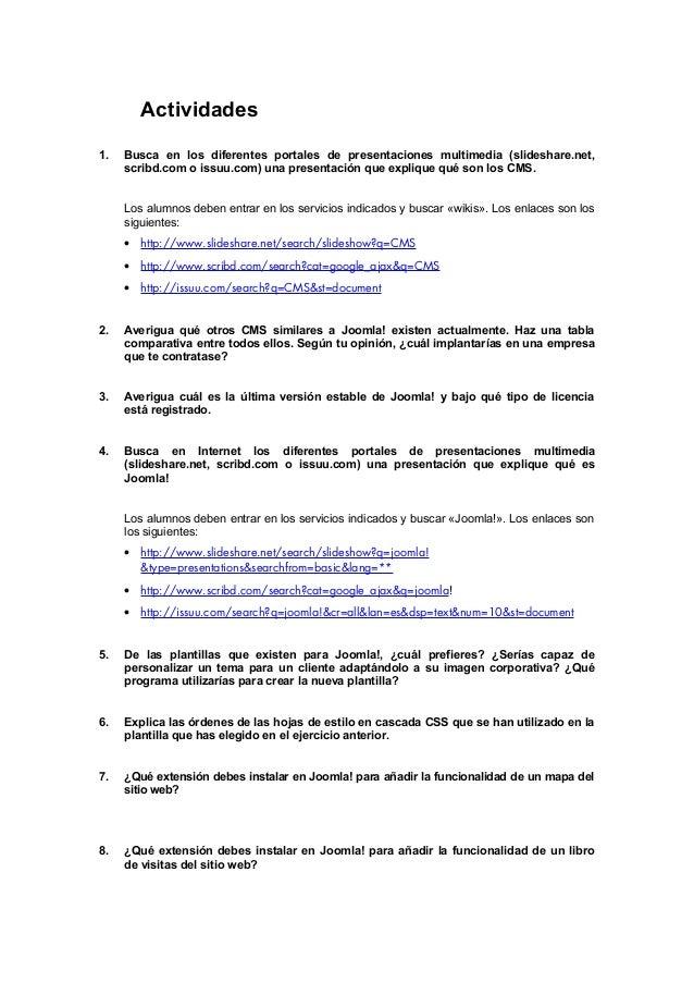 Actividades 1. Busca en los diferentes portales de presentaciones multimedia (slideshare.net, scribd.com o issuu.com) una ...