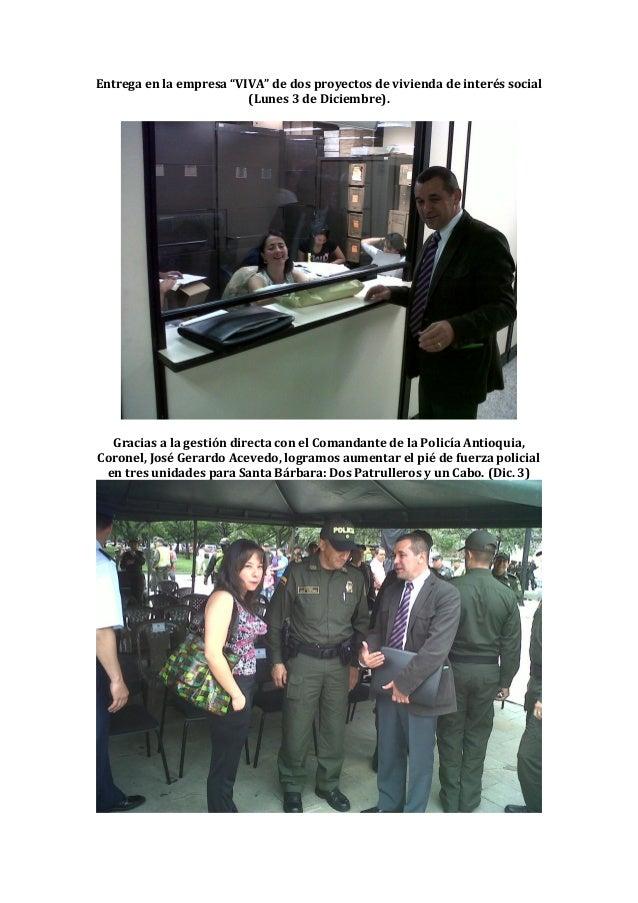 """Entrega en la empresa """"VIVA"""" de dos proyectos de vivienda de interés social                         (Lunes 3 de Diciembre)..."""