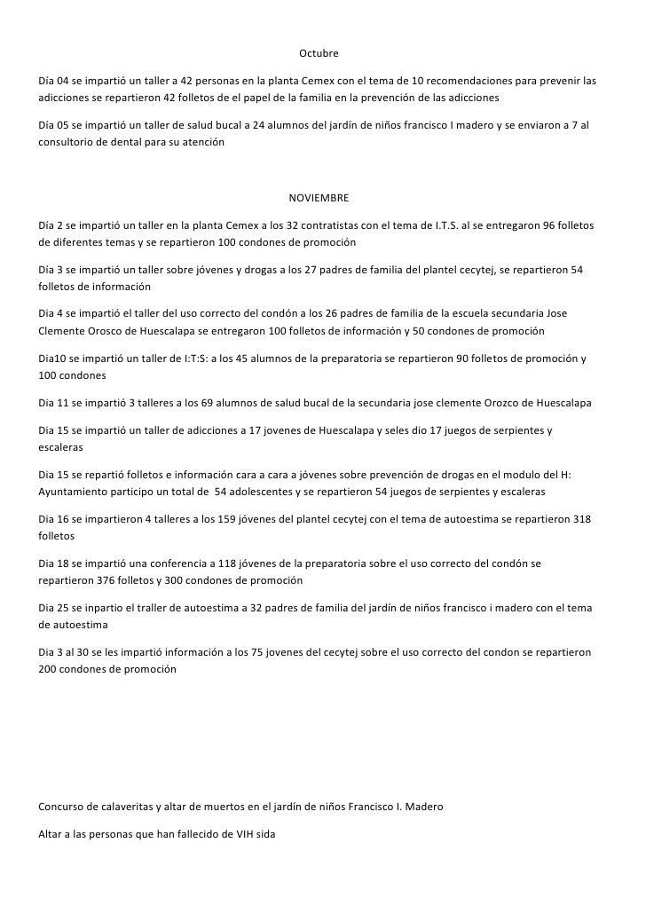 OctubreDía 04 se impartió un taller a 42 personas en la planta Cemex con el tema de 10 recomendaciones para prevenir lasad...
